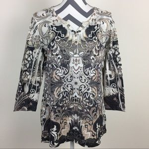 Style & Co. Abstract Design Embellished Top Size L